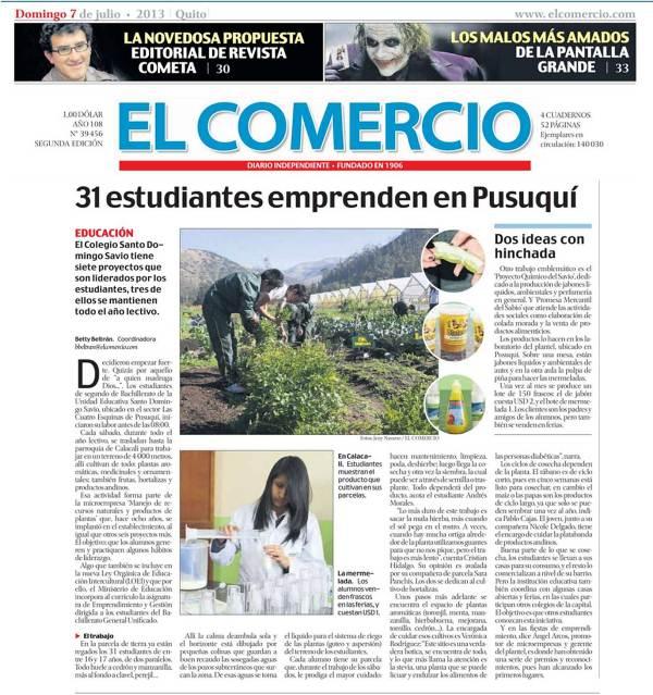 """DIARIO """"EL COMERCIO"""" RESALTA EL EMPRENDIMIENTO DEL """"DOMINGO SAVIO"""""""